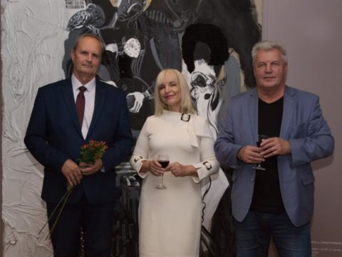 "Opening of solo exhibition ""Black Meets White"" by artist Ieva Caruka 7"